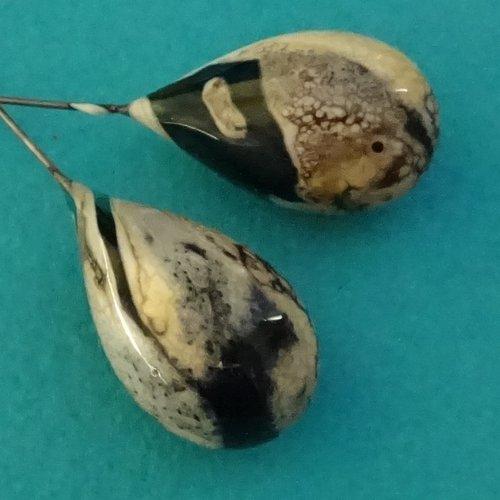 Headpins verre filé, lampwork, verre de murano, perl.4174