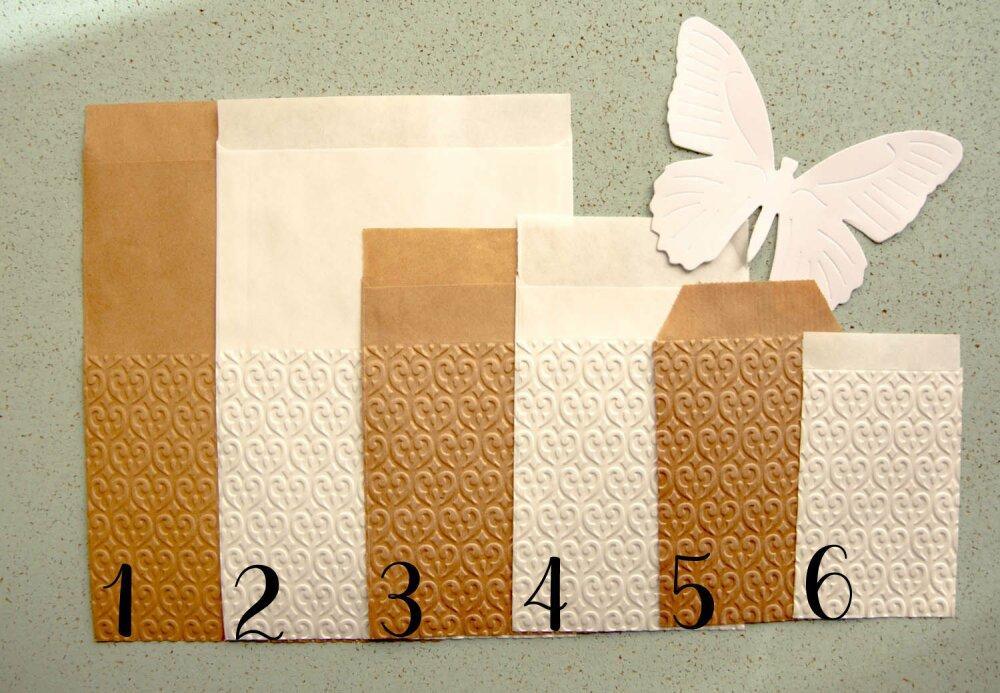 Sachets kraft motif arabesques, sachets mariage, sachets cadeaux, Lot de 10 -  au choix