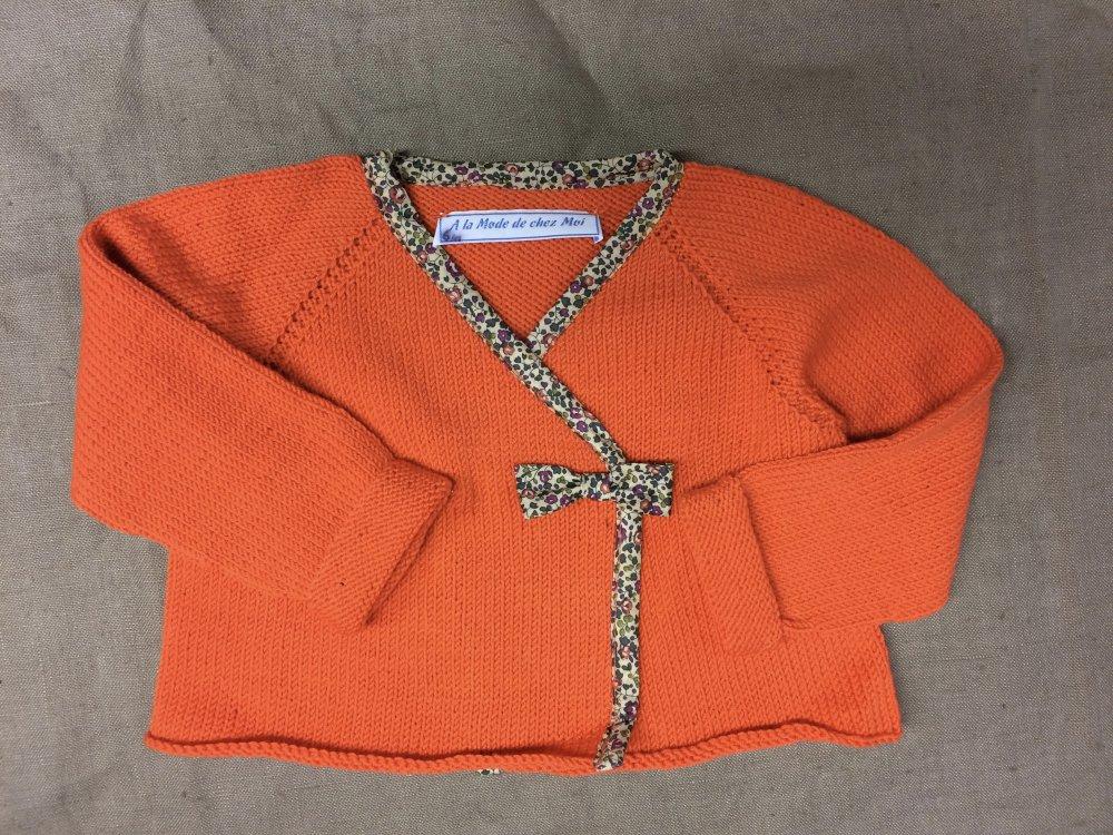 Cache-coeur orange laine et Liberty