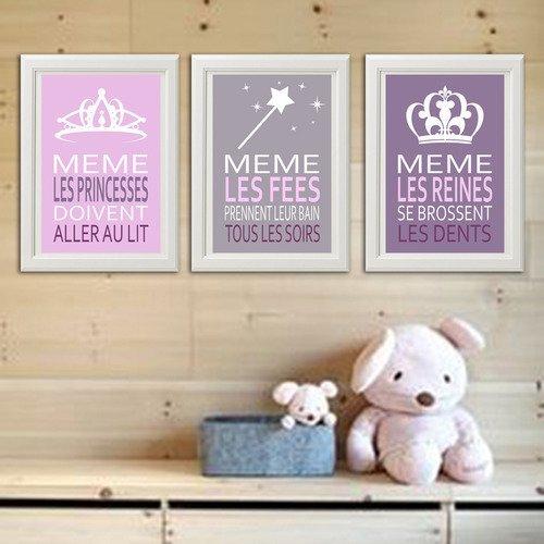 3 affiches citations avec princesse, fée, reine, rose, gris, mauve