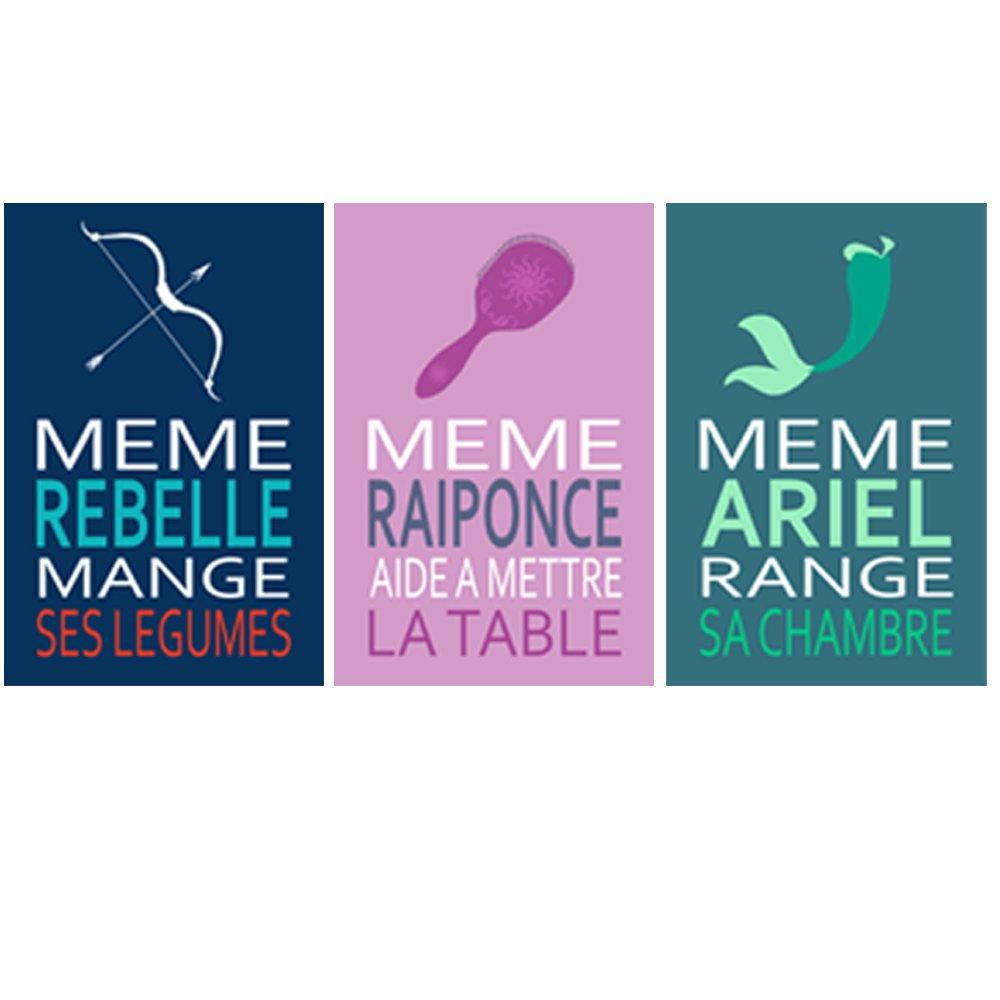 3 affiches citation avec Ariel, Rebelle, Raiponce, conseil enfant, humour