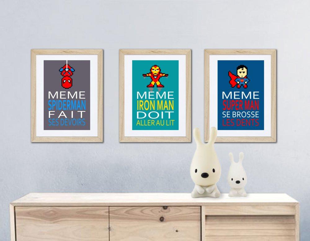 3 affiches superhéros avec citation pour décoration murale, chambre enfant ou salle de bain
