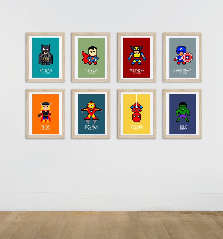 20 affiches super héros, décoration pour enfant et adolescent, décoration  chambre enfant