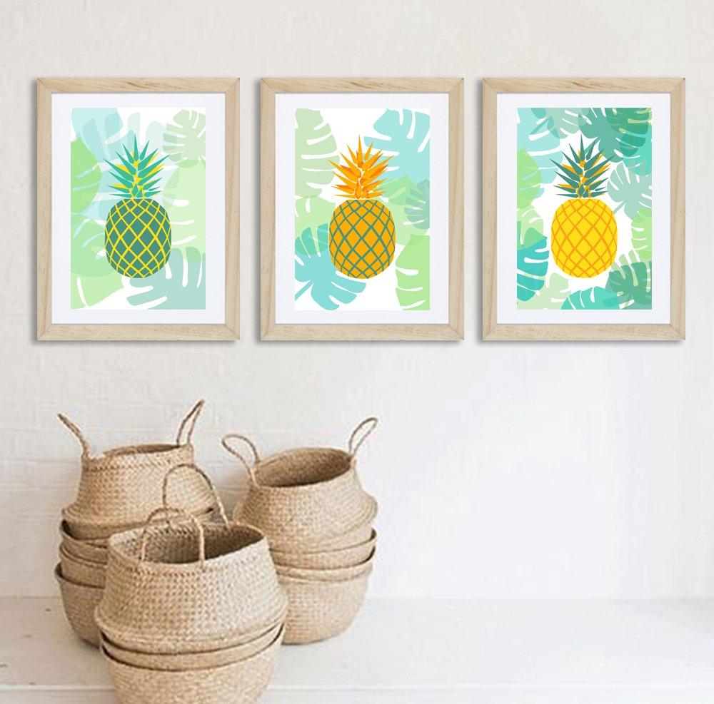 3 affiches ananas avec motif feuilles, tropical, exotique