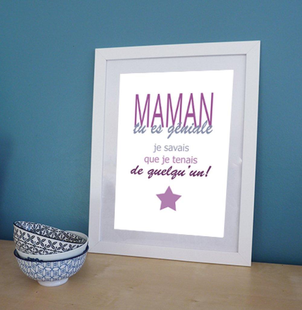 affiche citation pour les mamans géniales , fête des mères