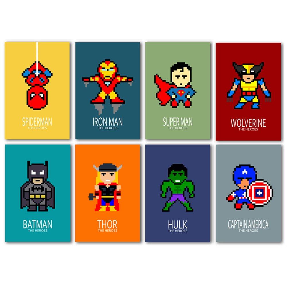 17 affiches des super héros, décoration chambre enfant