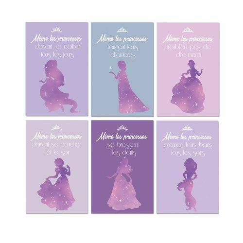 6 affiches fille même les princesses, citation en français, humour et conseil