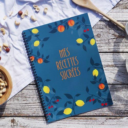 Cahier de recettes à compléter avec vos meilleures recettes sucrées, grand format a4