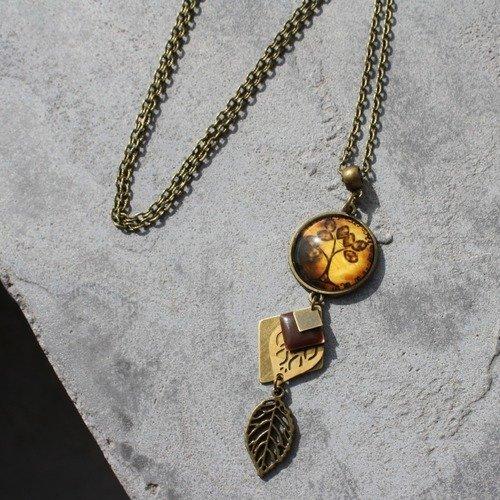 VINTAGE Joli arbre de vie Cabochon Verre Bronze Chaîne Collier Pendentif