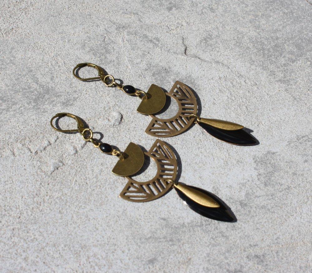 Boucles d'oreilles noir dormeuses bronze Antique breloques demi-cercle lune plume ethnique
