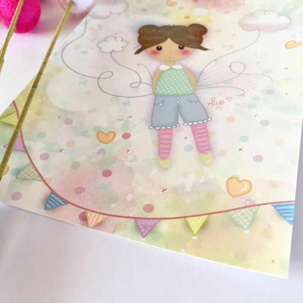 Carte postale illustrée *Lou dans les nuages*