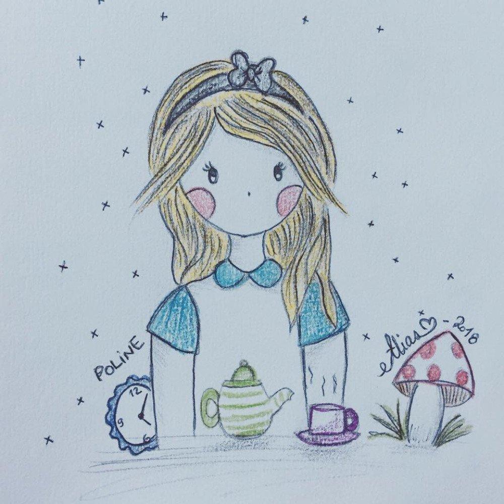 """Croquis unique """"Poline in Wonderland"""", illustration sur papier épais d'art"""