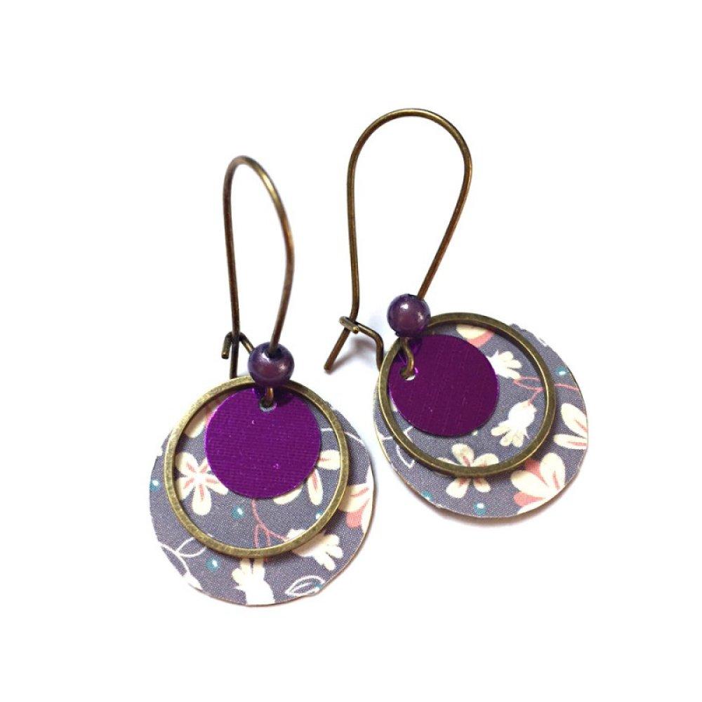 Boucles d'oreilles sequins et motif *Violet*