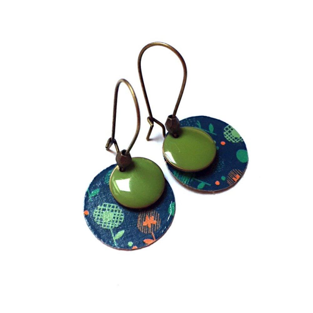 Boucles d'oreilles sequins verts *Claudette*