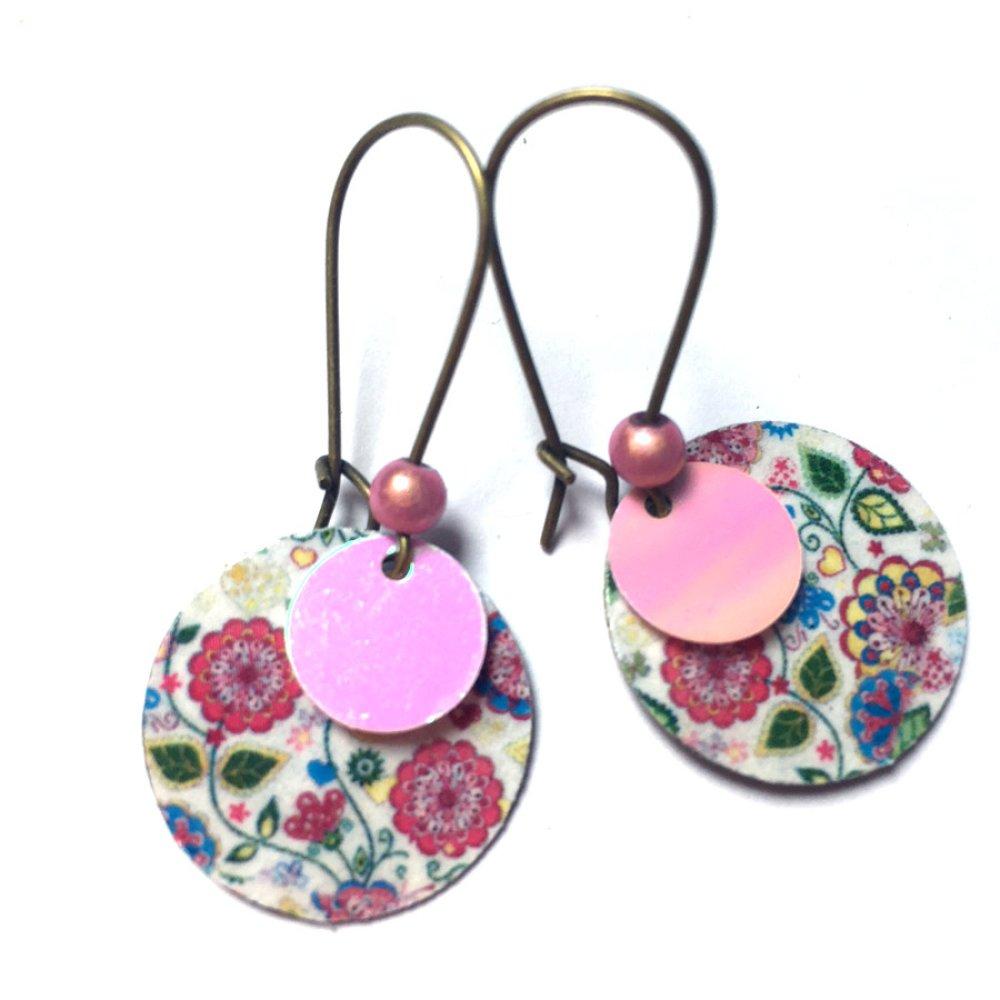 Boucles d'oreilles sequins et motif *Evangelyne*