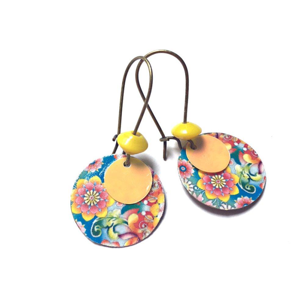 Boucles d'oreilles sequins et motif *Aglaé*