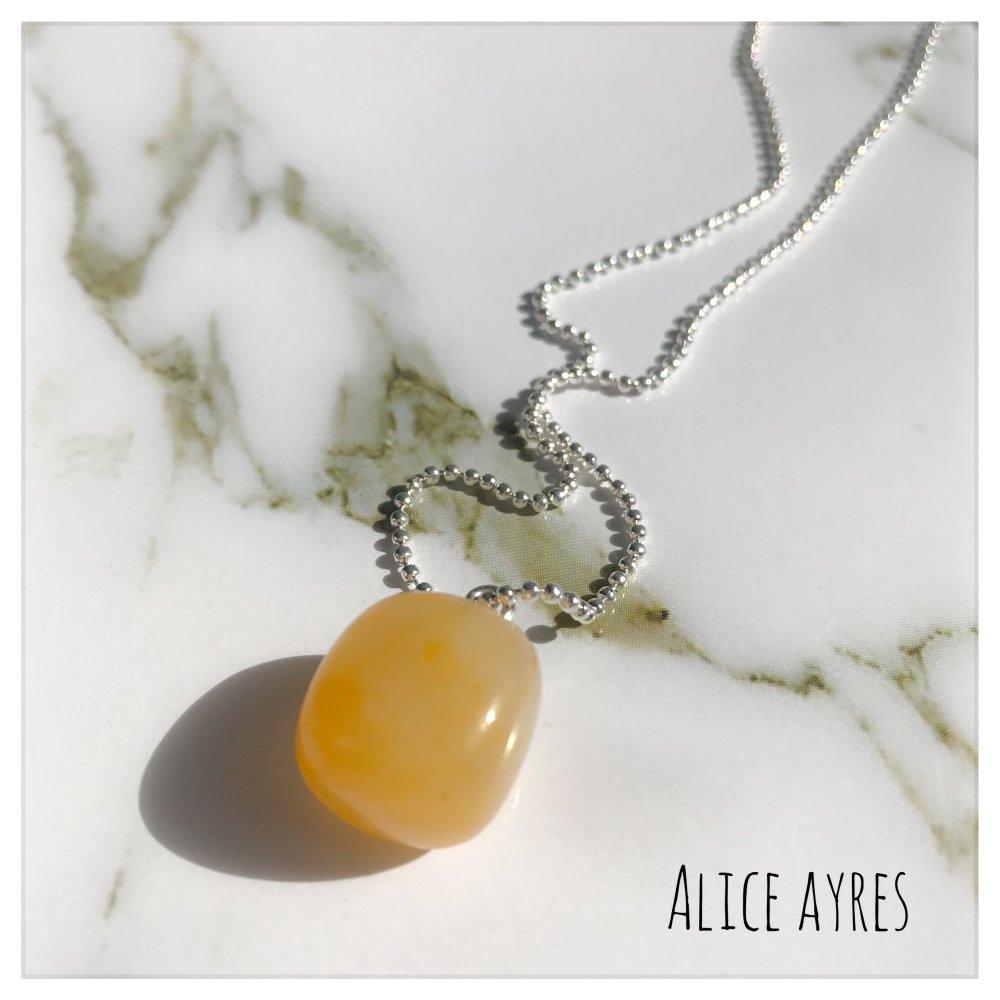 Collier pierre Aventurine jaune/pêche