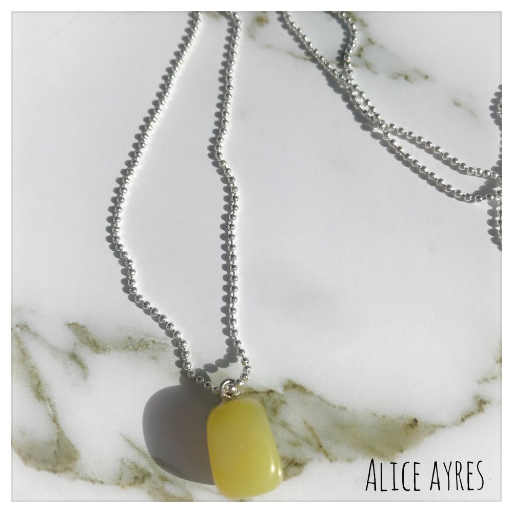 Collier pierre Jade jaune pâle