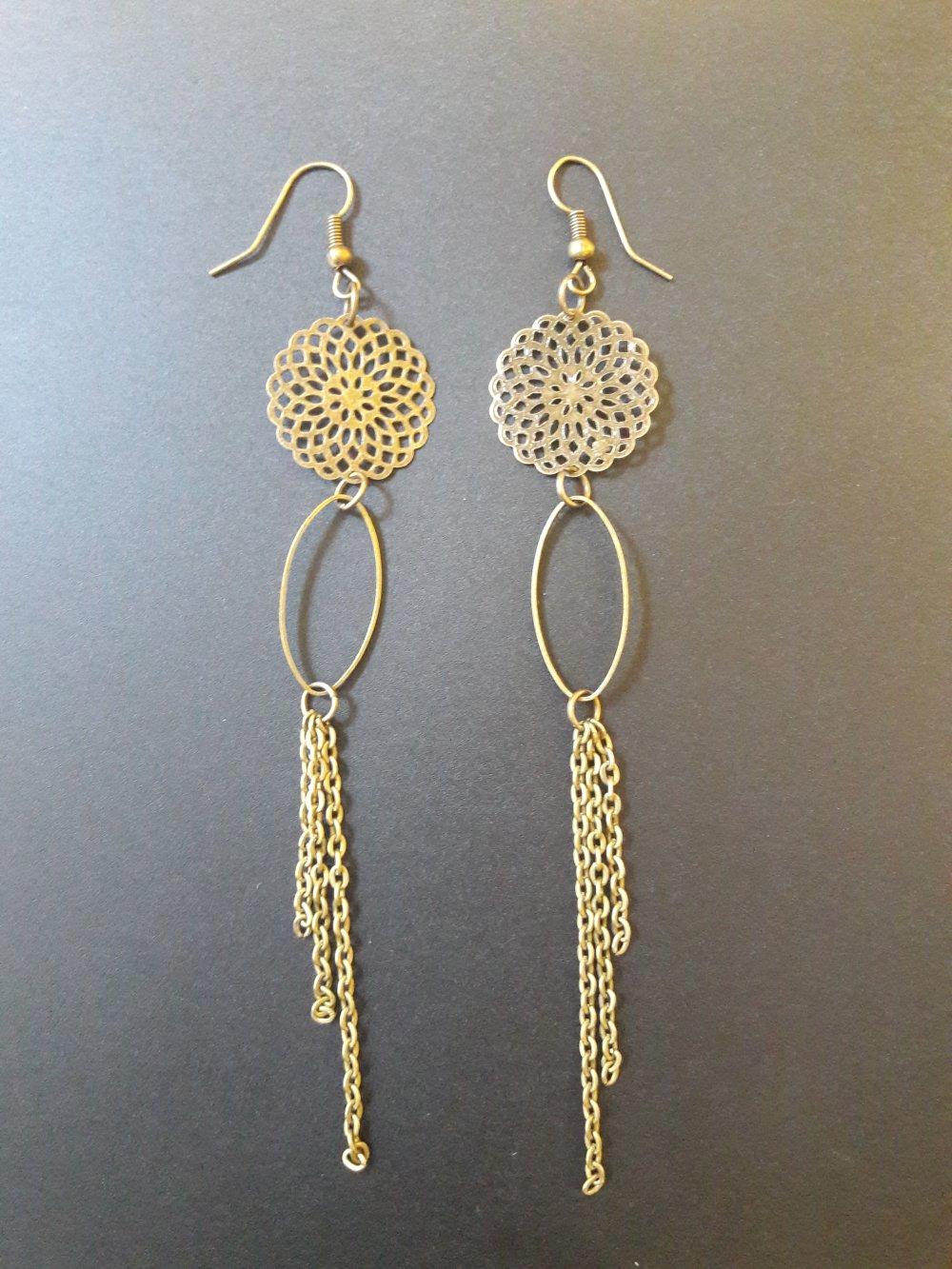 Boucles d'oreilles couleur bronze