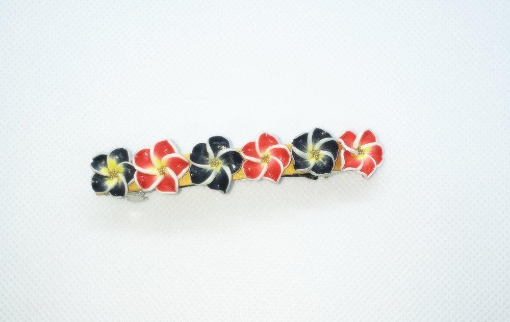 Barrette Fimo fleurs - modèle 4