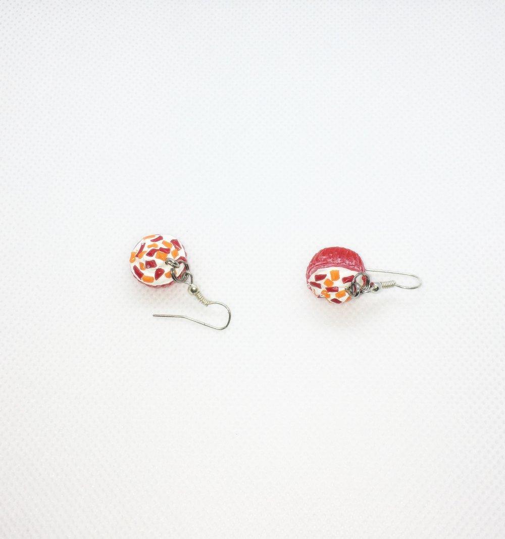Boucles d'oreilles Fimo cupcake chantilly et confettis