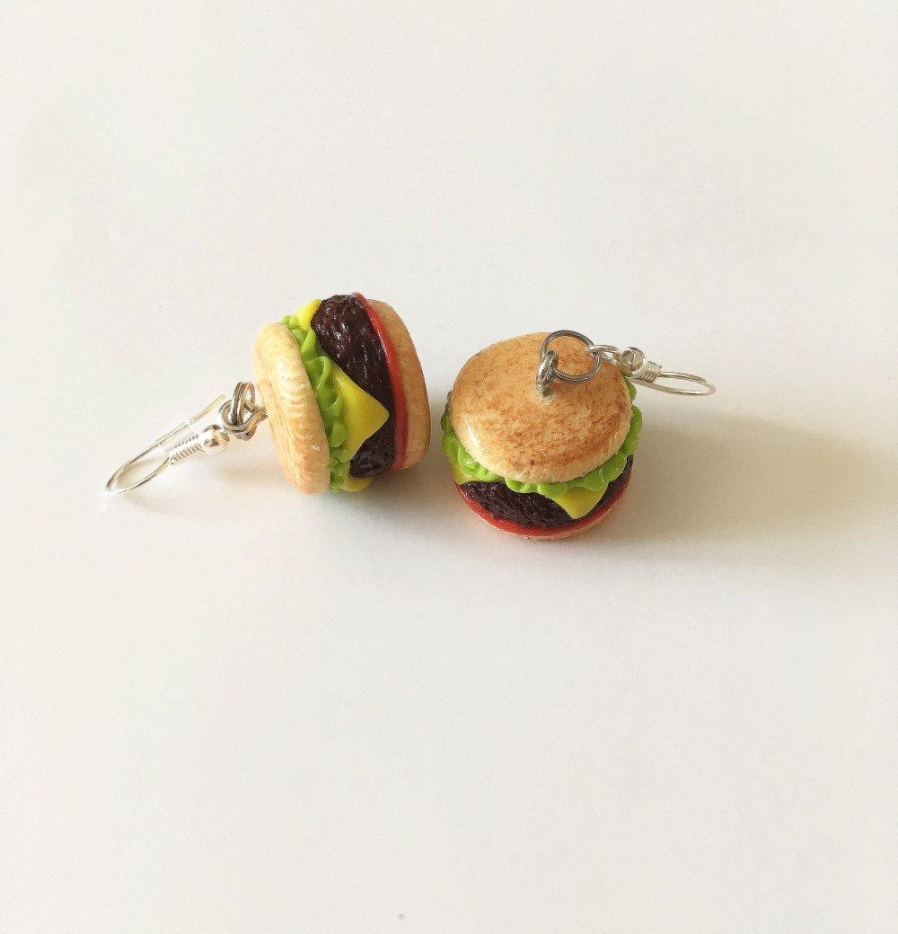 Boucles d'oreilles Fimo hamburgers