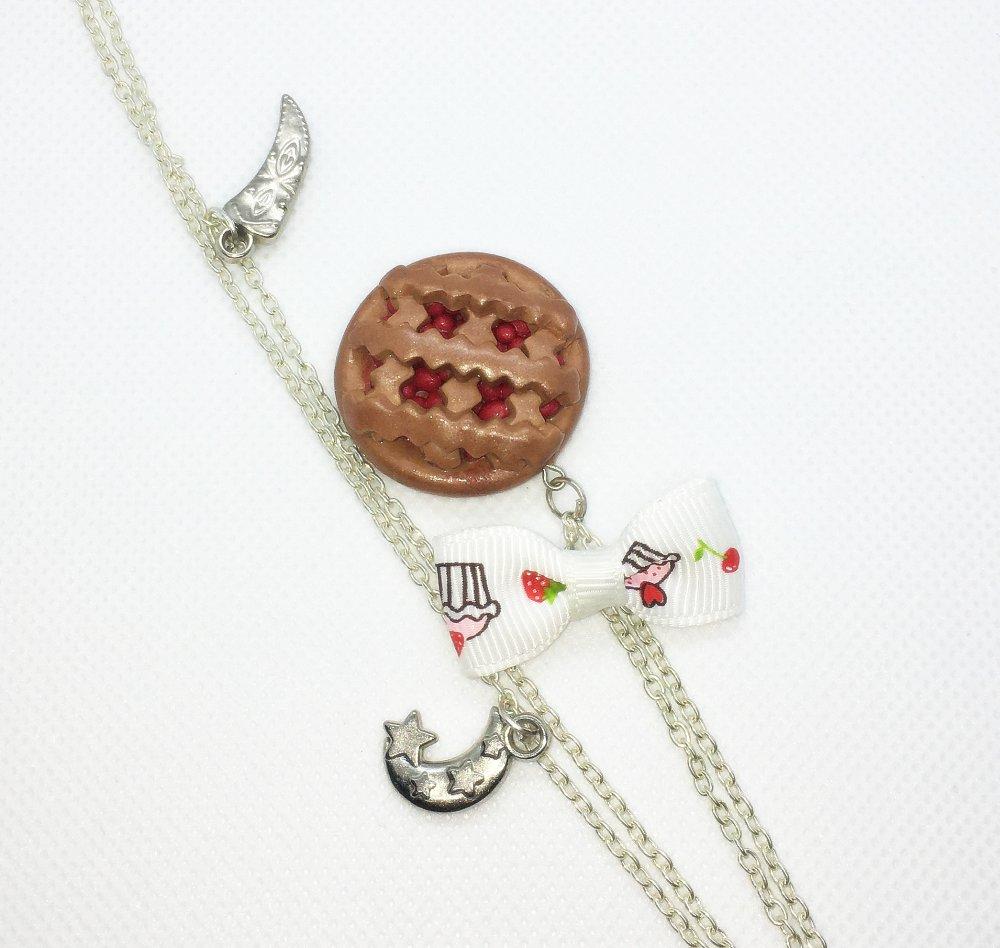 Collier Fimo pendentif tarte aux groseilles et son petit nœud
