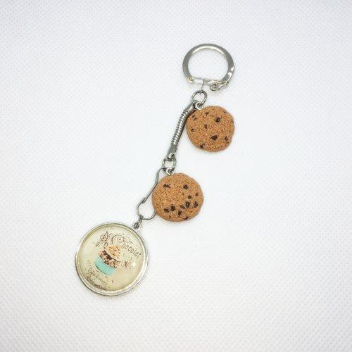Porte-clés fimo cookies et cabochon gourmand