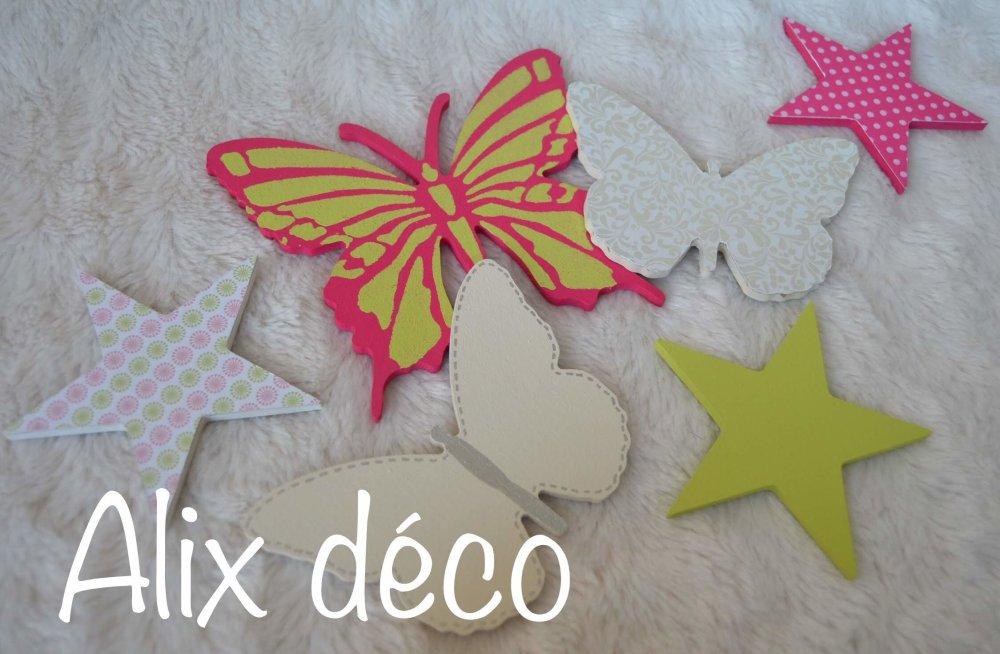 Stickers bois, stickers étoiles et papillons, décoration enfant, chambre bébé, cadeau naissance (sur commande)