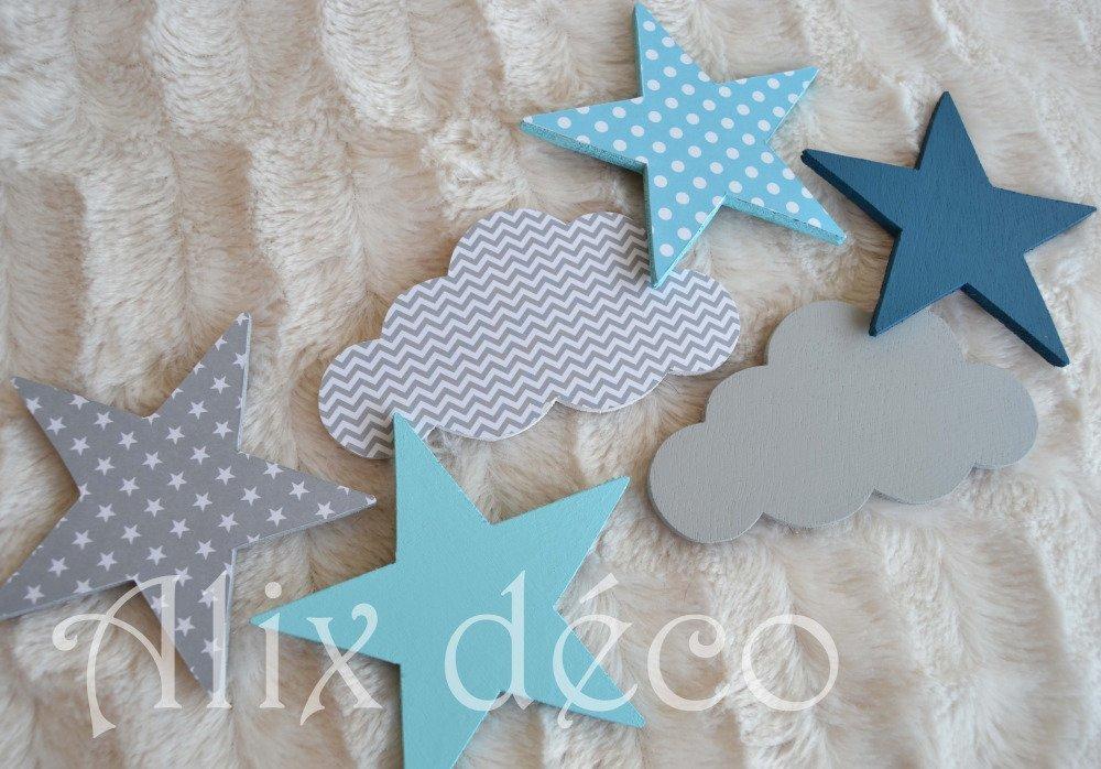 Stickers bois, stickers étoiles et nuages, décoration enfant, chambre bébé, cadeau naissance (sur commande)