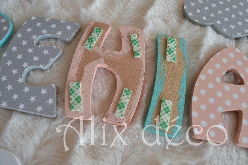 Lettres en bois, prénom enfant en bois, décoration étoiles, décoration nuages, cadeau naissance (sur commande)