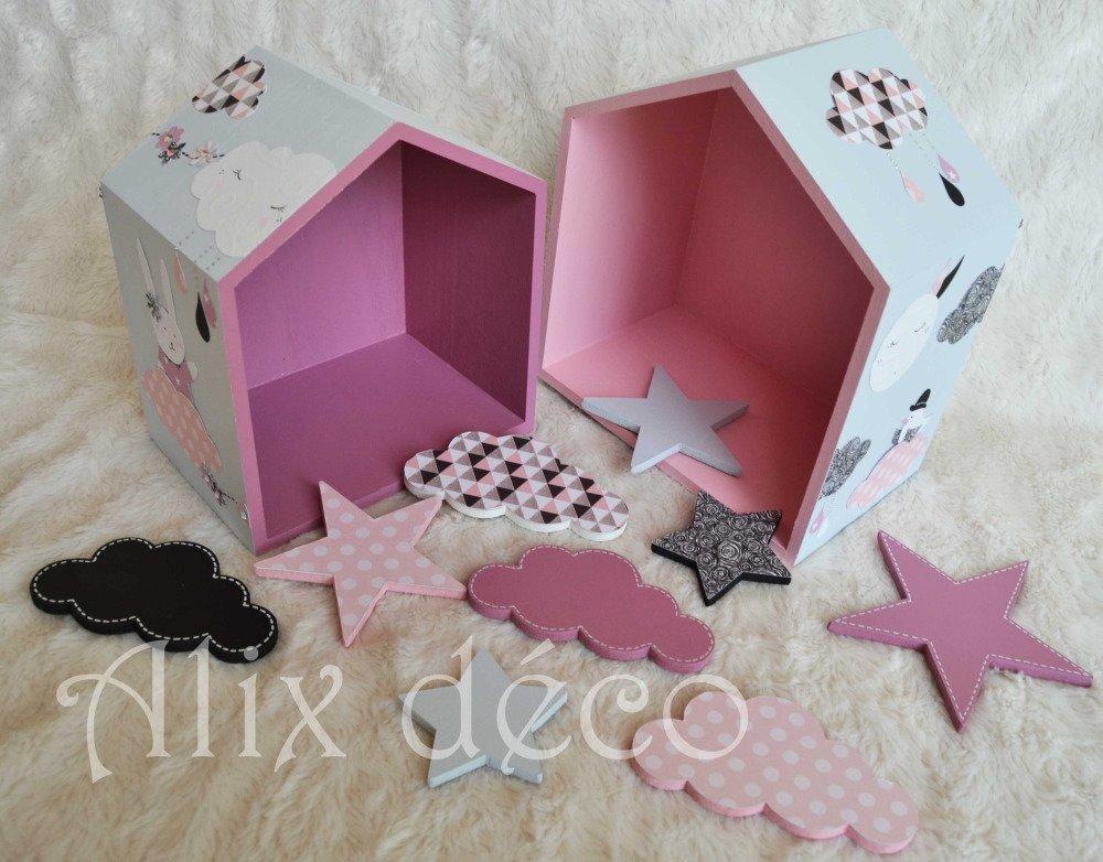 Etagères cabanes, étagères bois, décoration enfant, décoration miss chipie, cadeau naissance