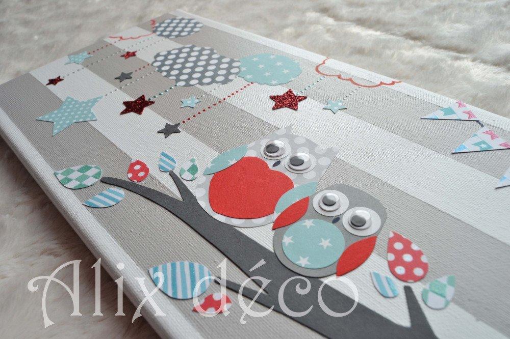 Tableau enfant, chassis entoilés, décoration enfant, décoration hibou, tableau chouette, cadeau naissance