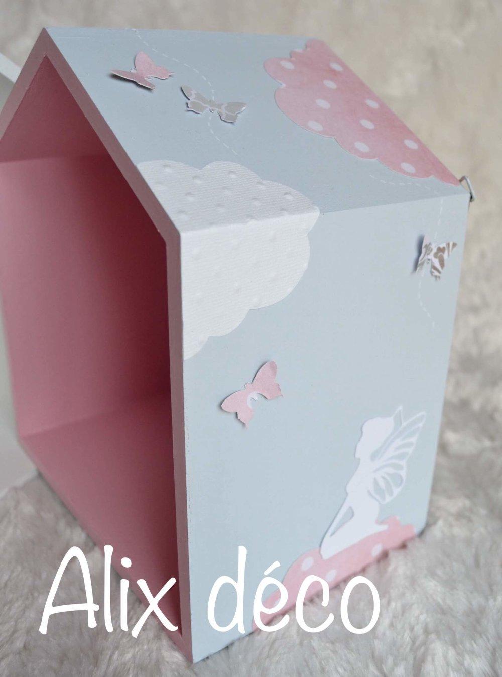 Etagères cabanes, étagères bois, décoration enfant, décoration fée, cadeau naissance (sur commande)