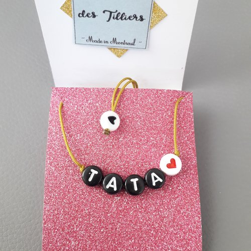 """Bracelet message """"tata ❤"""" perles lettres alphabet noires, soeur, cadeau, annonce"""