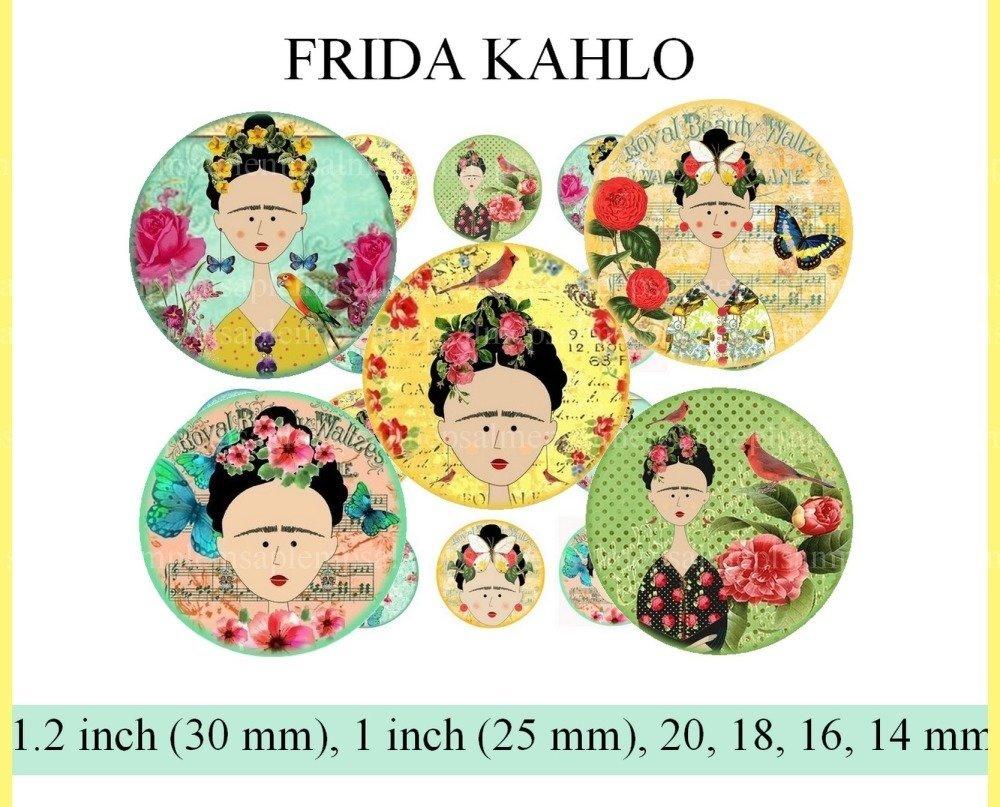 images digitales cabochon Frida Kahlo