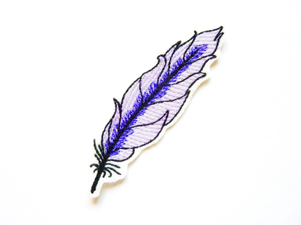 Patch thermocollant, broderie machine, écusson thermocollant, plume brodée, embroidery patch, feather patch