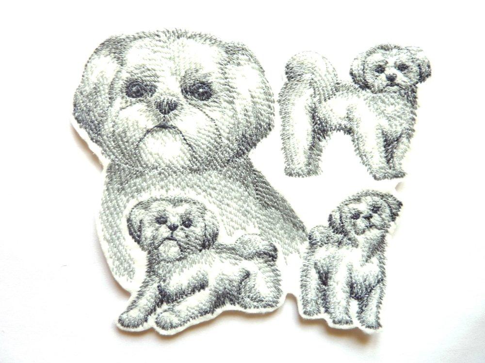 shih tzu thermocollant,chien brodé,ecusson thermocollant,chien thermocollant,dog patch,embroidery patch