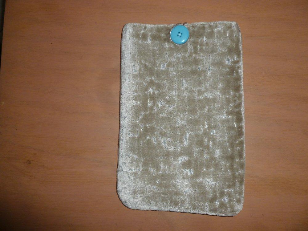 Housse/pochette/étui pour livre, tablette,liseuse,  en tissu d'ameublement  gris marbré doublé coton assorti gris
