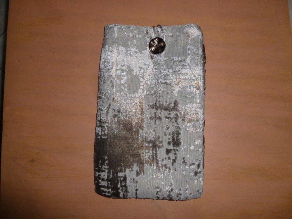 Housse/pochette/étui pour livre, tablette,liseuse,  en tissu d'ameublement  gris argenté marbré doublé coton assorti gris