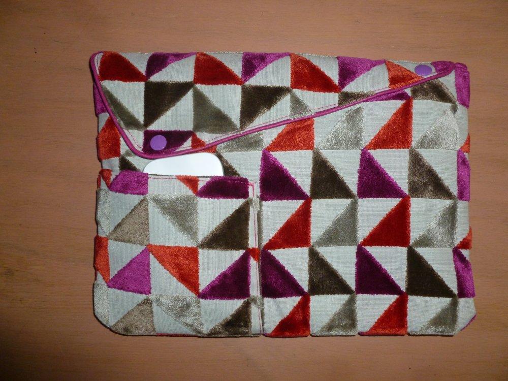 Housse/pochette/étui pour livre, tablette 10¨,  en tissu d'ameublement imprimé doublé coton assorti