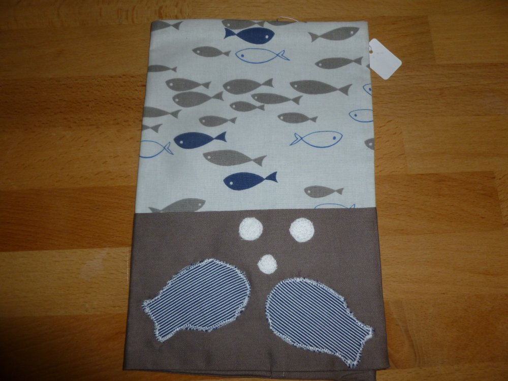 corbeille bébé tissu  imprimé de poissons,trio de corbeilles(poissons)