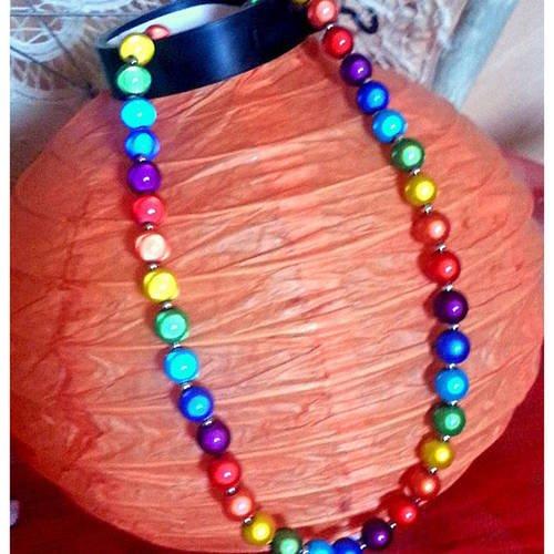 Collier  ras-le-cou  gamme arc-en-ciel  perles 10 mm-  bijou bio-quantique