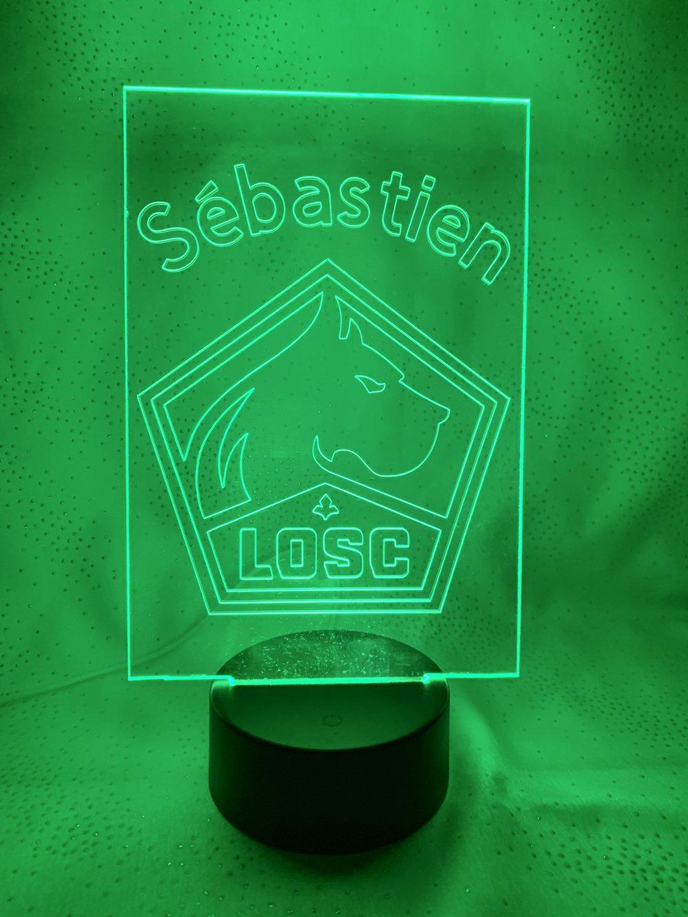Gravure lumineuse LOSC prénom Sebastien