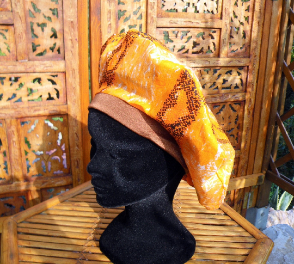BERET FEMME IMPRIME SERPENT ORANGE BANDEAU MARRON Gavroche