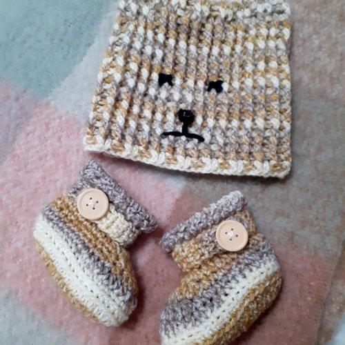 Ensemble bebe bonnet chat et chaussons