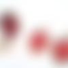 Parure bague et boucles d oreilles à cabochon ovale 18 x 25mm fleur rouge