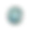 Bouton pression snap à cabochon 18mm bleu à paillettes bleues et argentées