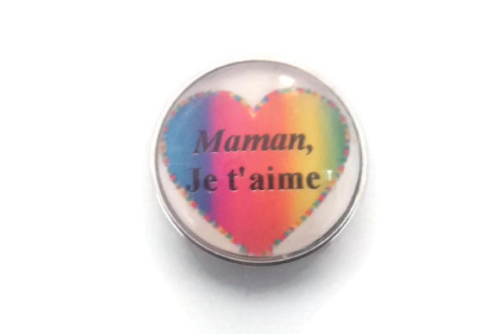 Bouton pression SNAP 18MM cœur multicolore Maman,  je t'aime