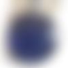 Bouton pression snap 18mm bleu à paillettes bleues